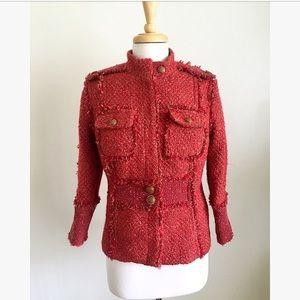 Tory Burch Red Kington Tweed Military Jacket